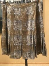 Tory Burch Size 10 Camel Gold & Gray pleated skirt M L XL MINT!! Wool Silk blend