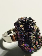 Ring drusy druzy stone adjustable natural stone silver plated  dichroic boho