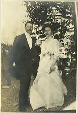 PHOTO ANCIENNE - VINTAGE SNAPSHOT - COUPLE MARIAGE MARIÉS MODE ÉLÉGANCE -FASHION