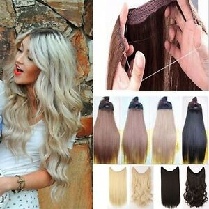 UK Secret Headband  Wire in Natural Hair Extensions Invisible As Human Hairpiece
