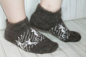 WOMEN's SOCKS SLIPPERS natural goat down organic yarn HOME Knitted