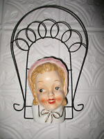 Vintage CHASE Girl Head Vase Wall Pocket Pink Bonnet With Wire Frame Japan