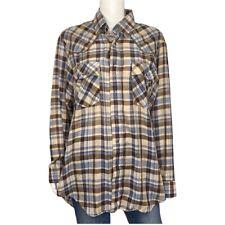 Levi's RARE Vintage 1970's Western Plaid Metallic Snap Down Shirt Size L