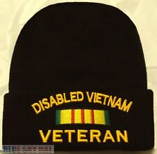 DISABLED VIET NAM VIETNAM VETERAN VET SERVICE RIBBON KNIT BEANIE WATCH CAP HAT