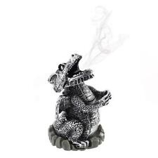 Silver Smoking Dragon Incense Cone Burner Holder Mythical Magical Fantasy