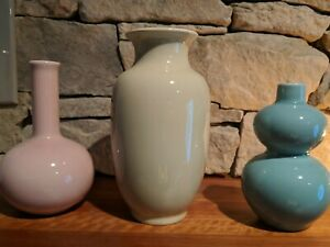 IKEA Atertag Ceramic Vase Set of 3 Blue, Pink & Yellow