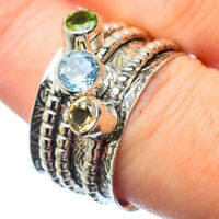 Blue Topaz, Citrine, Peridot 925 Sterling Silver Ring Size 8.25 Jewelry R28566F