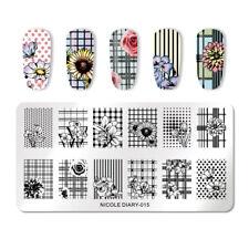 NICOLE DIARY Nail Stamping Plates Flower Pattern DIY Nail Art Tool ND-015