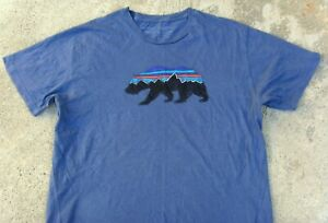 Patagonia Fitz Roy Bear Organic Cotton T-Shirt Men's L Slim Fit Dolomite Blue