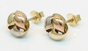 9CT Multi Coloured Gold Knot Style Stud Earrings Butterfly Fastener (06.15.083)