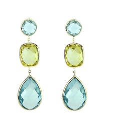 14K Yellow Gold Earrings With Blue And Lemon Topaz Gemstones