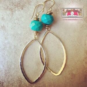 Faceted Turquoise Gem Long Statement Earrings Gold Marquise Drop Dangle Stone