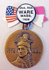Ware Mass. 1929 CASIMIR PULASKI POLISH AMERICAN PATRIOT medal badge fob +
