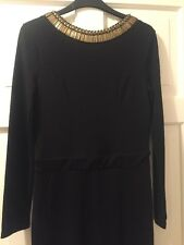 Black Backless maxi dress with gold detail, Evening Gown  River Island, size 12.