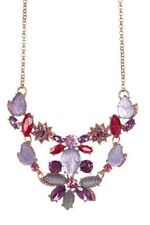 NEW BETSEY JOHNSON ROSE GOLD,MULTI COLOR RHINESTONE,ACRYLIC FLORAL NECKLACE