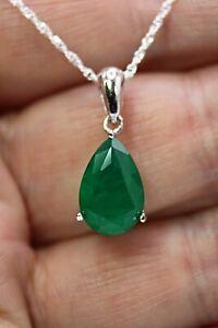 Pendant Green Emerald Doublet Genuine Natural Gem Sterling Silver 16 or 18 Inch