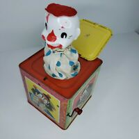 Vintage 50s Mattel Clown Jack In The Box Tin Metal Toy Pops Up Plays Music