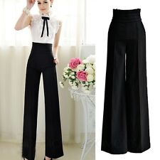 Slacks Summer Fashion Dress Trousers Womens Work Formal Pants UK Sz 6-14 Black 12