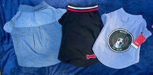NEW DOG shirts lot 3 OUTFITS Reddy LRG Martha Stewart clothing PUPPY t-shirt