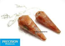 Solid Peach Moonstone Gemstone 12-Faceted Precision Pendulum Chakra Healing