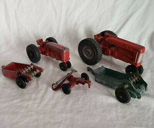 Vintage Lot Of Hubley Diecast 2 Tractors And 5 Accessories
