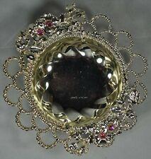 LORI Lorenzi ARGENTI Silver Plate Floral Edge Metal Bowl Crystals
