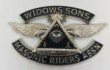 SILVER Widows Sons Masonic Riders Association Emblem auto motorcycle Mason WS