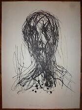 Max Ulhig Lithographie signée 1979  portrait art Männlicher Kopf Art Abstrait