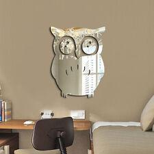 3D Mirror Owl Wall Sticker DIY Art Mural Home Room Decor Acrylic Decals New