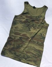 Camouflage Tank Top 1970's Vintage Old School T-Shirt (S/M 17.5x28)
