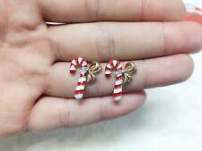 1 pair Christmas cane Christmas Gift Round zircon festival earrings men women