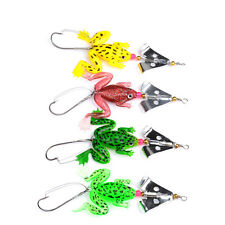 New 4Pcs Rubber Silicone Frog Soft Fishing Lure Bait Bass Crankbait Tackle Hook