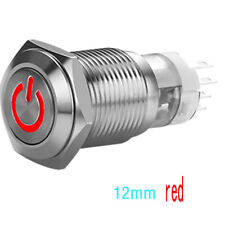 16/12mm 12V Car LED Power Momentary Push Button Metal ON/OFF Switch Waterproof/