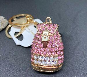 Fashion Women Backpack Shaped Keychain Crystal Keyring Handbag Charm