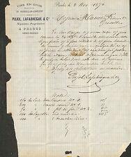 PRADES VINS PUJOL LAFABREGUE NEGOCIANTS FACTURE OU COURRIER 1876