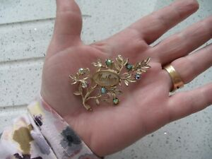 VINTAGE MOTHER BROOCH IRIDESCENT FLOWER SPRAY & MOTHER OF PEARL