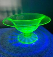 Vintage Green Vaseline Depression Glass Pedestal Rolled Rim Compote Dish Bowl