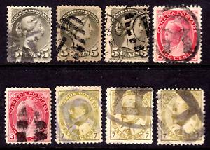 CANADA #38,42,77-78,92, 1876-1903 LOT/8, F, DUPLEX & CORK CIRCLES