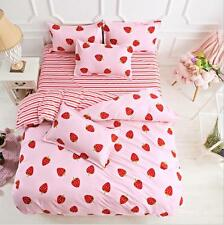 Pink Strawberry Doona Quilt Duvet Cover Bedding Set Pillowcase Single Queen King