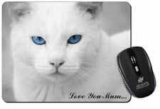 White Cat 'Love You Mum' Computer Mouse Mat Christmas Gift Idea, AC-6lymM