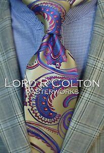 Lord R Colton Masterworks Tie - Warren of Kent Baroque Gold Necktie - New