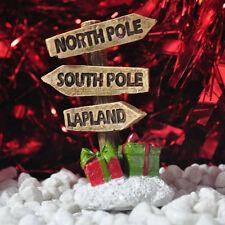 Mini Fairy Garden Sign North South Pole Decor Pixie Elf Christmas Ornament 39620