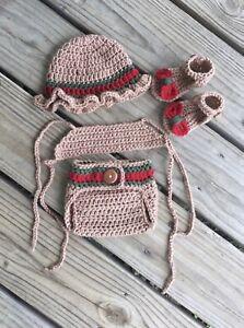 Crochet Newborn Baby Girl Sun Hat, Diaper Cover, Top and Sandals Photo Prop Set