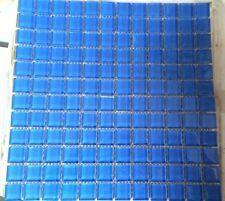 "1x1 Glass Tile Mosaic Kitchen Bathroom Wall: Blue - full sheet - 12""x 12"""