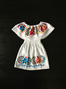 Girls Mexican White Embroidered Floral Dress Great Quality 6 mos-5 yrs