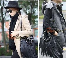 Stylish Ladies Punk Double Fringe Tassel Leather Handbag Messenger Shoulder Bag