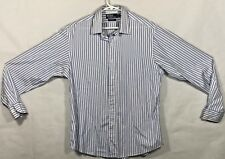 Ralph Lauren Polo Blue White Striped L/S Casual Dress Shirt Men's Size 17 36/37