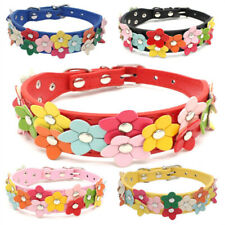Pet Dog Collar Neck Ring Strap Supply Safe Belt Cute Flower Adjustable PU Puppy