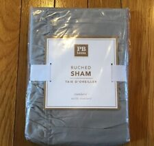 New NIP Pottery Barn PB Teen Chambray Ruched Standard Sham Light Gray