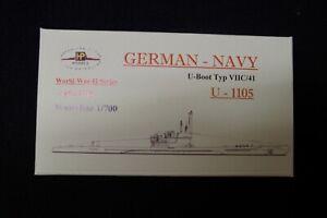 HP Models 1:700  WL  U-Boot  Typ VIIC/41   U-1105  im Bauzustand -1944/45-